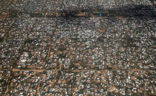 An aerial picture shows a section of the Hagadera camp in Dadaab near the Kenya-Somalia border, May 8, 2015.   REUTERS/Thomas Mukoya