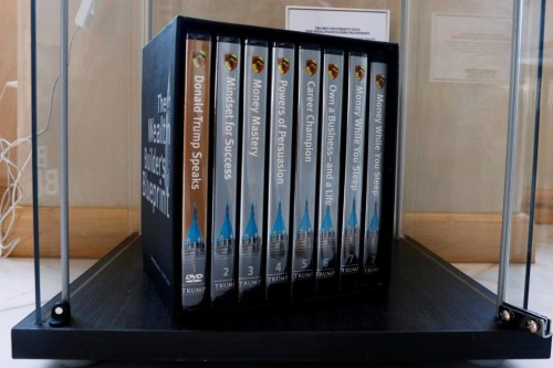 Trump University DVDs are displayed at The Trump Museum near the Republican National Convention in Cleveland, Ohio, U.S., July 19, 2016.  REUTERS/Lucas Jackson