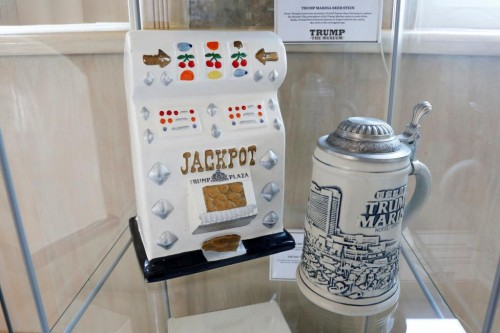 Trump Plaza ceramic slot machine and Trump Marina beer stein are displayed at The Trump Museum near the Republican National Convention in Cleveland, Ohio, U.S., July 19, 2016.  REUTERS/Lucas Jackson