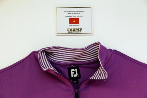A Trump branded shirt hangs below a tag showing where it was made at theThe Trump Museum near the Republican National Convention in Cleveland, Ohio, U.S., July 19, 2016.  REUTERS/Lucas Jackson