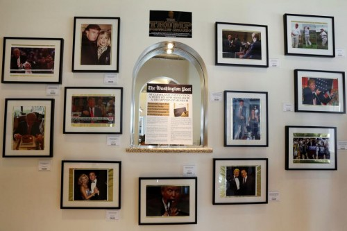Photographs of different points in Republican U.S. presidential candidate Donald Trump's life are displayed at The Trump Museum near the Republican National Convention in Cleveland, Ohio, U.S., July 19, 2016.  REUTERS/Lucas Jackson