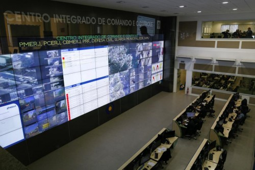 A view of the Integrated Command and Control Center of security, composed of police and firemen, during a training of troops who will provide security during the Rio 2016 Olympic Games in Rio de Janeiro, Brazil. REUTERS/Bruno Kelly
