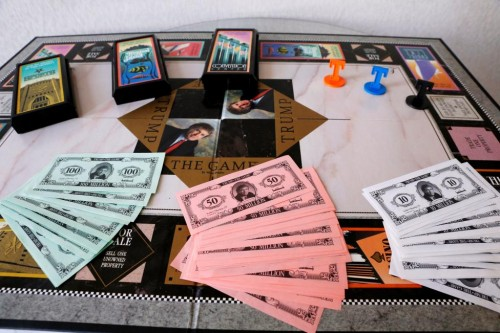 The board from a Trump branded board game is displayed at The Trump Museum near the Republican National Convention in Cleveland, Ohio, U.S., July 19, 2016.  REUTERS/Lucas Jackson