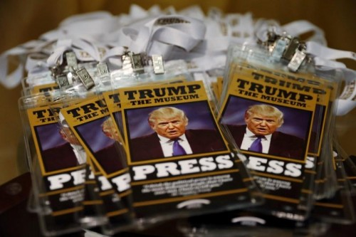 Press passes rest on a table inside of The Trump Museum near the Republican National Convention in Cleveland, Ohio, U.S., July 19, 2016.  REUTERS/Lucas Jackson