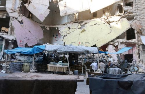 Empty vegetable stalls are pictured in Aleppo