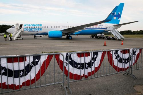 "Hillary Clinton's newly unveiled campaign plane sits on the tarmac at the Westchester County Airport in White Plains, New York. ""I'm ready, I'm more than ready,"" Clinton said before takeoff. REUTERS/Brian Snyder"