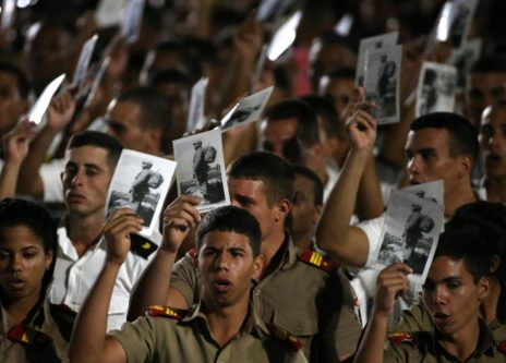 Cadets hold images of Cuba's late President Fidel Castro. REUTERS/Carlos Garcia Rawlins