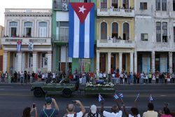 A military vehicle transports the ashes of Cuba's late President Fidel Castro in Havana