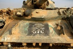 A captured Islamic State tank is seen at the Iraqi army base in Qaraqosh east of Mosul
