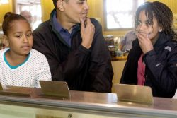 U.S. President Barack Obama and his two girls buy ice cream in Yellowstone National Park in Wyoming