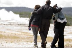 U.S. President Barack Obama and family visit Old Faithful Geyser in Yellowstone National Park in Wyoming