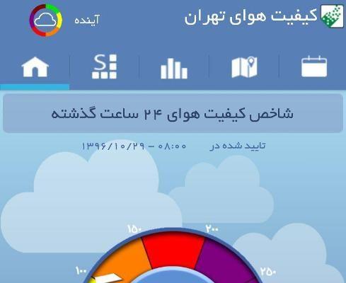 کیفیت هوای تهران برای گروه های حساس ناسالم است